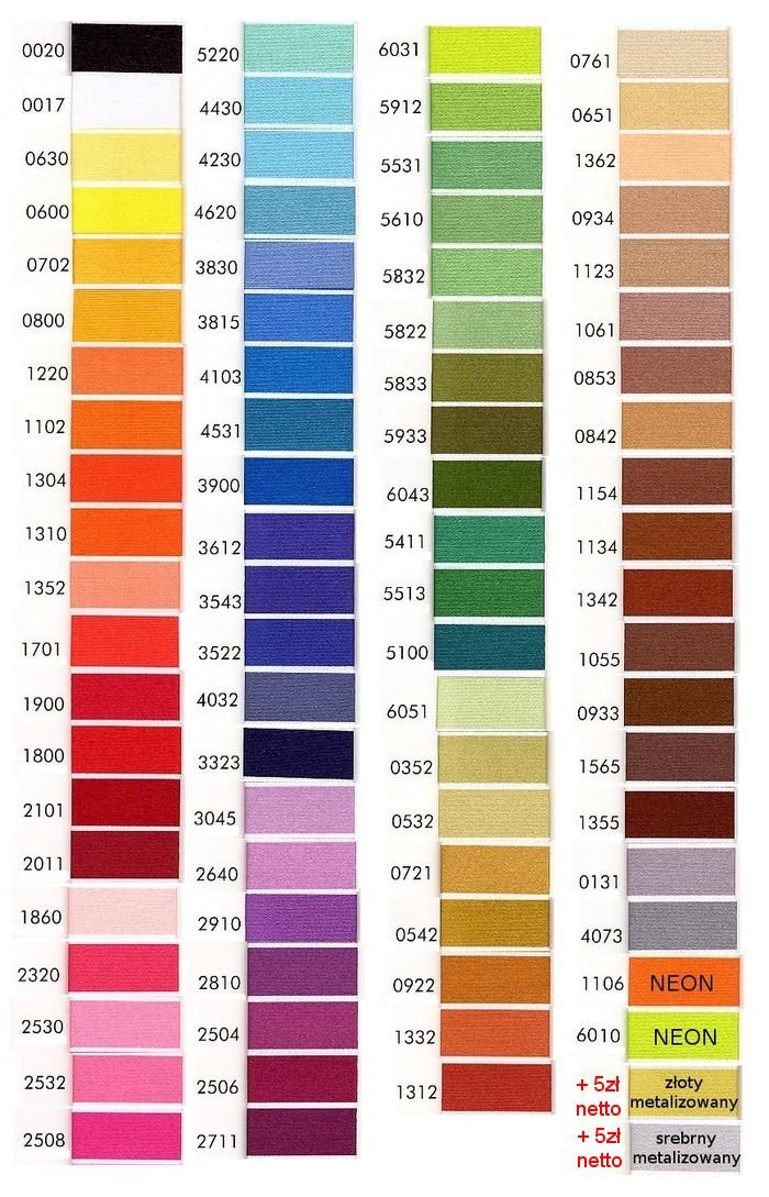 dostępne kolory nici do haftu